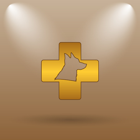 veterinary icon: Veterinary icon. Internet button on brown background.