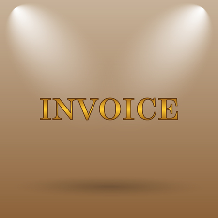 accounts payable: Invoice icon. Internet button on brown background.
