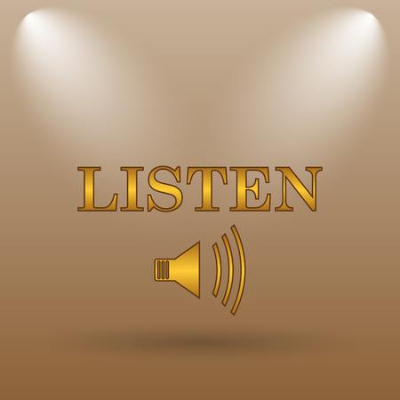 listen: Listen icon. Internet button on brown background.
