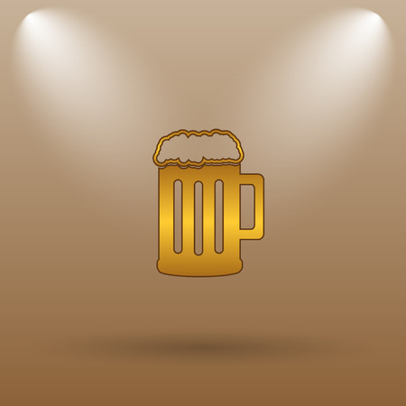 Beer icon. Internet button on brown background.