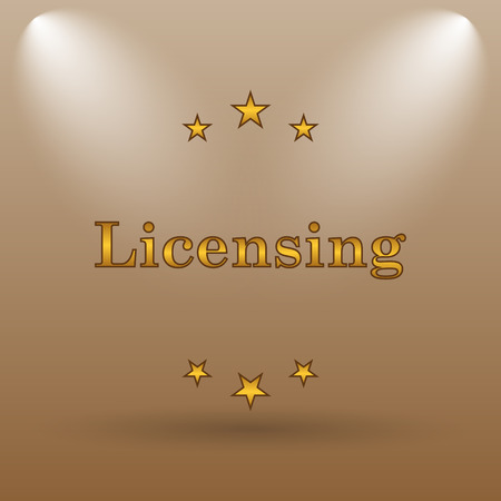 licensing: Licensing icon. Internet button on brown background.