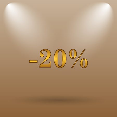 20: 20 percent discount icon. Internet button on brown background. Stock Photo