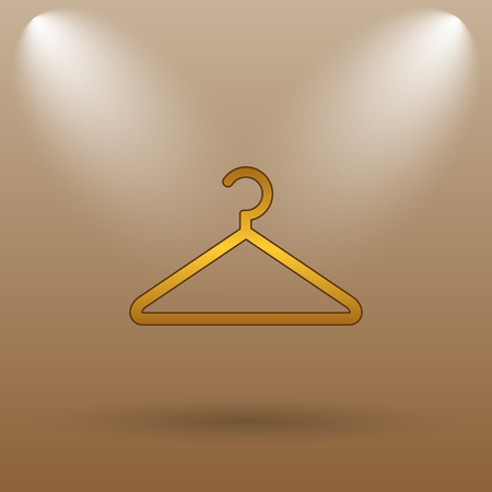 clothing rack: Hanger icon. Internet button on brown background.