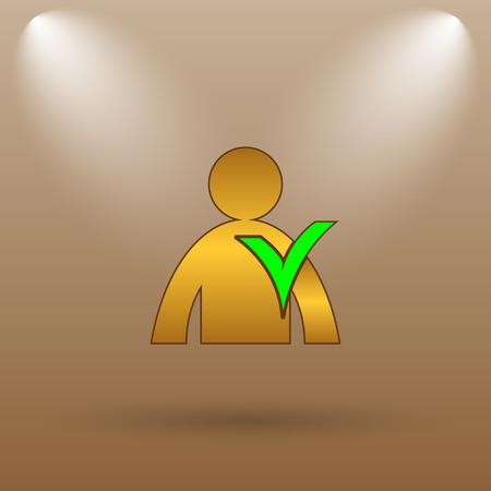 User online icon. Internet button on brown background.