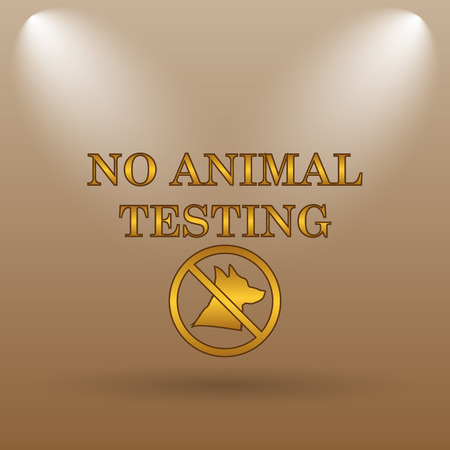 testing: No animal testing icon. Internet button on brown background.