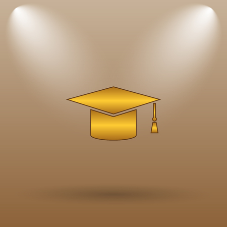 doctorate: Graduation icon. Internet button on brown background.