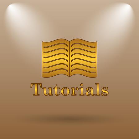 tutorials: Tutorials icon. Internet button on brown background. Stock Photo