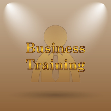 idea hurdle: Business training icon. Internet button on brown background.