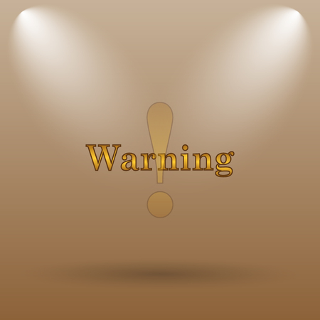 warning icon: Warning icon. Internet button on brown background.