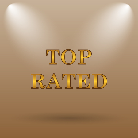 top class: Top rated  icon. Internet button on brown background.