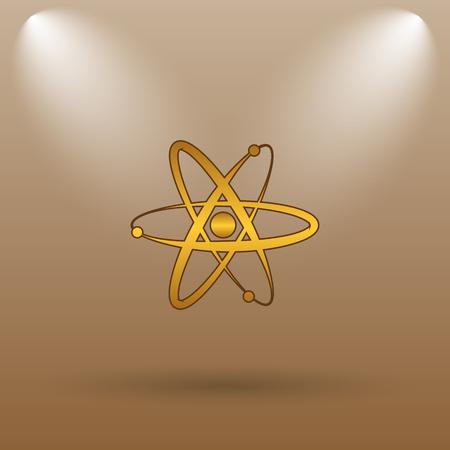 gamma radiation: Atoms icon. Internet button on brown background.