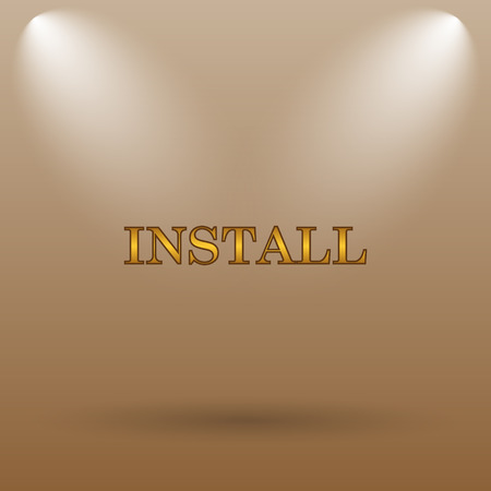 install: Install icon. Internet button on brown background. Stock Photo