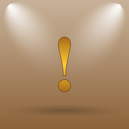 attention icon: Attention icon. Internet button on brown background.
