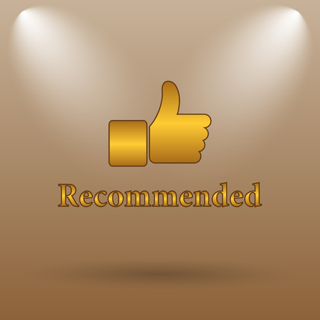 recommendations: Recommended icon. Internet button on brown background. Stock Photo