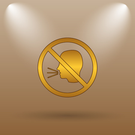 no talking: No talking icon. Internet button on brown background.