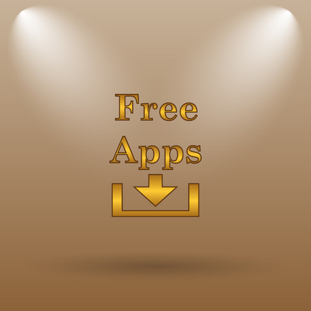 phone button: Free apps icon. Internet button on brown background. Stock Photo