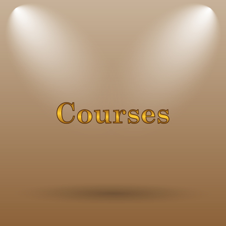 course development: Courses icon. Internet button on brown background. Stock Photo