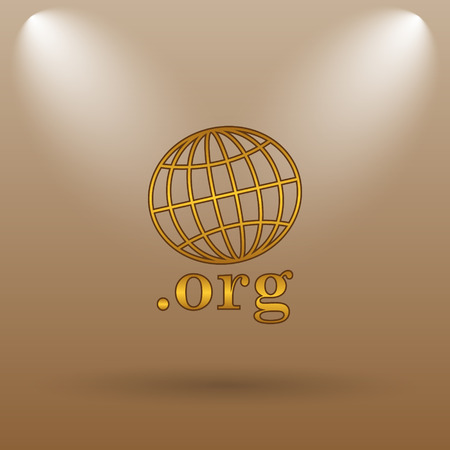 org: .org icon. Internet button on brown background. Stock Photo