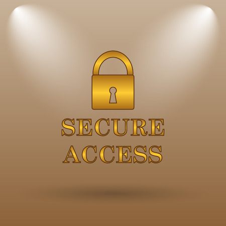 accessible: Secure access icon. Internet button on brown background. Stock Photo