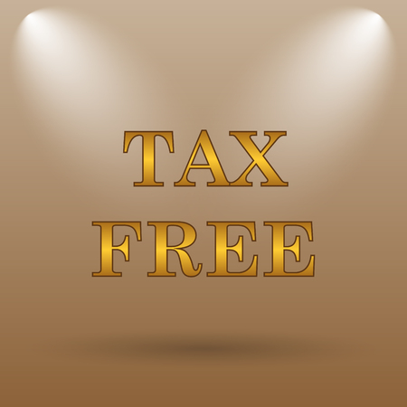 reduce taxes: Tax free icon. Internet button on brown background.