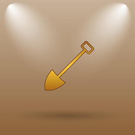 gold shovel: Shovel icon. Internet button on brown background. Stock Photo