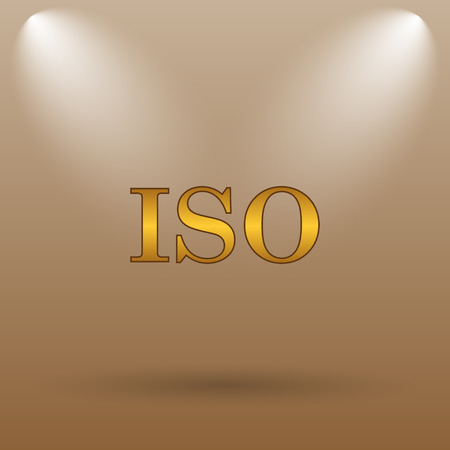 norm: ISO icon. Internet button on brown background.