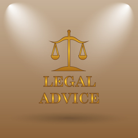 judiciary: Legal advice icon. Internet button on brown background.