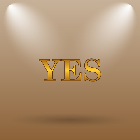 yea: Yes icon. Internet button on brown background.