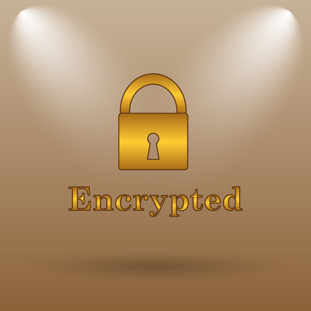 encrypted: Encrypted icon. Internet button on brown background. Stock Photo