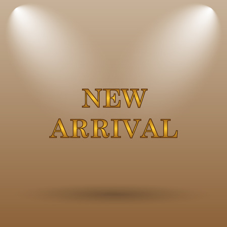 arrivals: New arrival icon. Internet button on brown background.