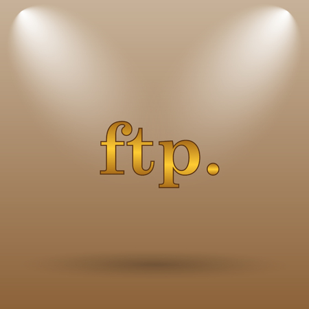 ftp: ftp. icon. Internet button on brown background. Stock Photo