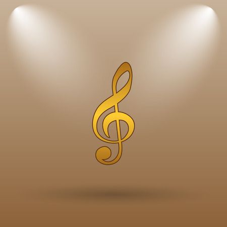 gold record: Musical note icon. Internet button on brown background.