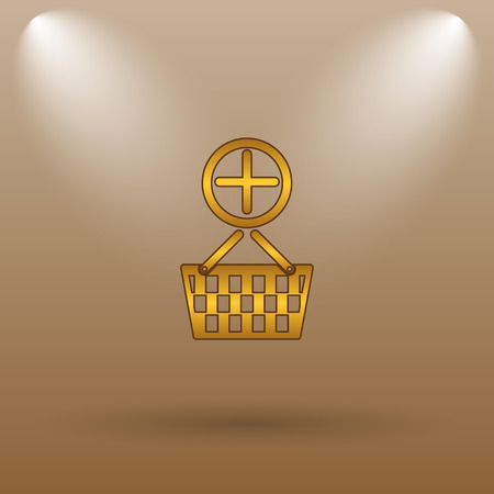 add to basket: Add to basket icon. Internet button on brown background.