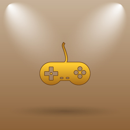 joy pad: Gamepad icon. Internet button on brown background.