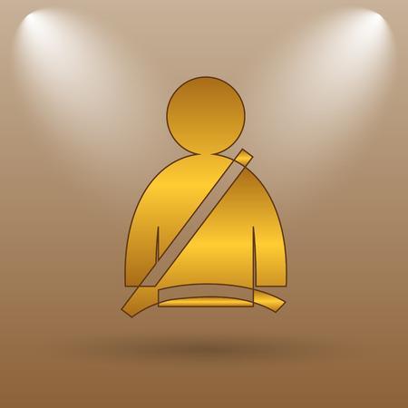 cinturon seguridad: icono de cintur�n de seguridad. bot�n de internet sobre fondo marr�n.