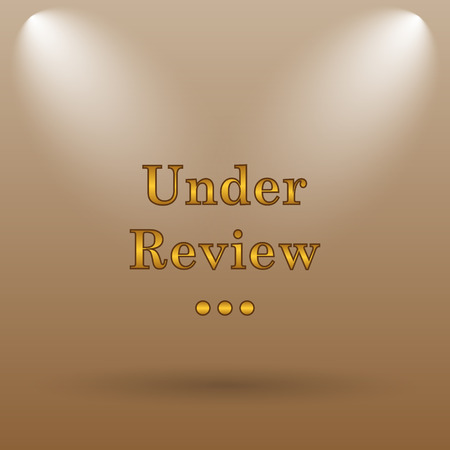 canceled: Under review icon. Internet button on brown background.