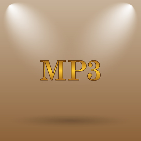 mp3: MP3 icon. Internet button on brown background.