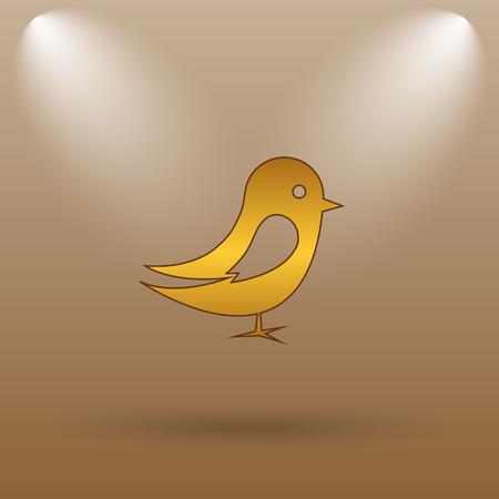 chirp: Bird icon. Internet button on brown background.
