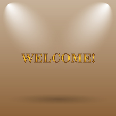 bill board: Welcome icon. Internet button on brown background.