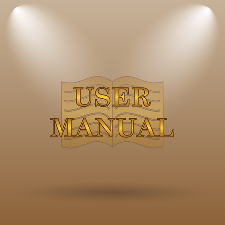 guidebook: User manual icon. Internet button on brown background.