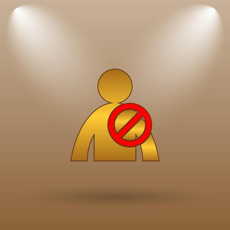offline: User offline icon. Internet button on brown background.