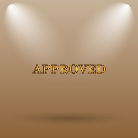 approved icon: Approved icon. Internet button on brown background.
