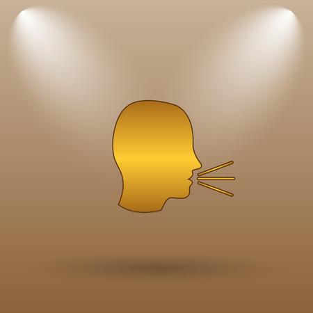 noisily: Talking icon. Internet button on brown background. Stock Photo