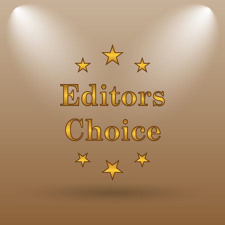 editors: Editors choice icon. Internet button on brown background.
