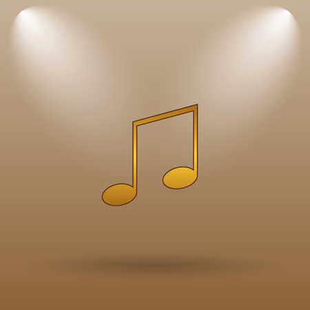 melodic: Music icon. Internet button on brown background.