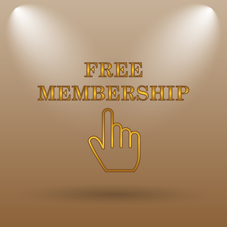 subscriber: Free membership icon. Internet button on brown background. Stock Photo