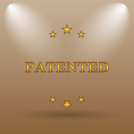 secured property: Patented icon. Internet button on brown background. Stock Photo