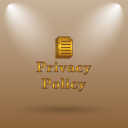 term and conditions: Privacy policy icon. Internet button on brown background. Stock Photo