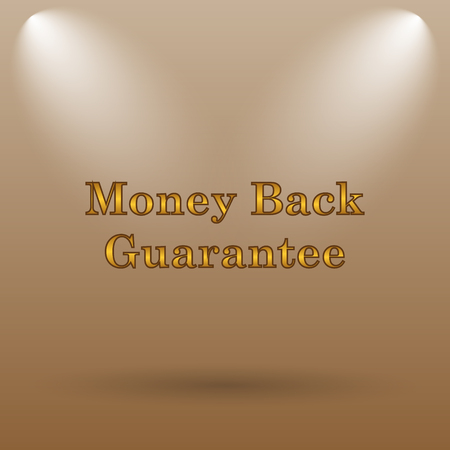 guarantee icon: Money back guarantee icon. Internet button on brown background. Stock Photo