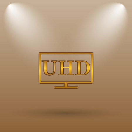 ultra: Ultra HD icon. Internet button on brown background.